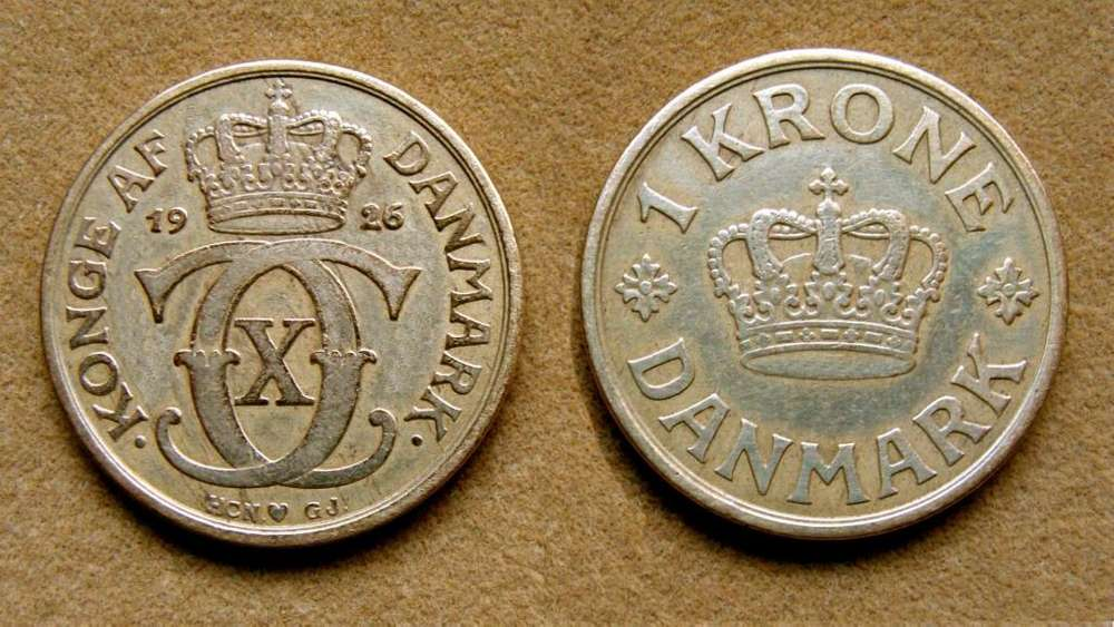 Moneda de 1 corona Dinamarca 1926