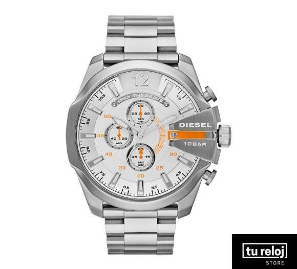a48bc2ea54fd Reloj Diesel para Hombre DZ4328 Color Plata Face Blanco con Apliques Naranja