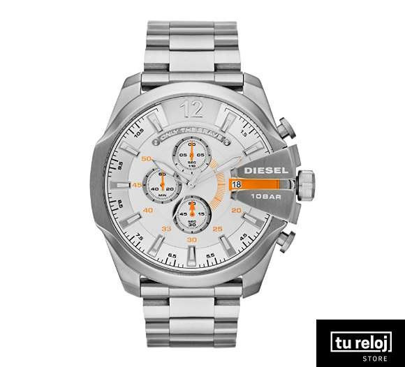 14eec635e1a9 Reloj Diesel para Hombre DZ4328 Color Plata Face Blanco con Apliques Naranja