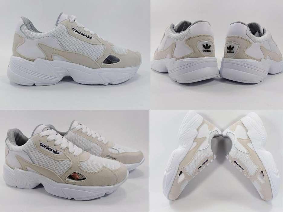 Tenis Adidas Falcon Blanco Gris para Mujer Envío GRATIS