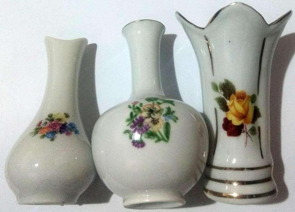 Lote de 3 Floreros o violeteros cerámica esmaltada