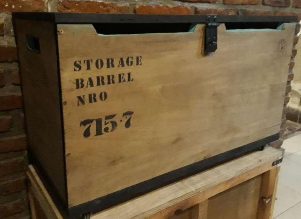 Baul de madera estilo industrial