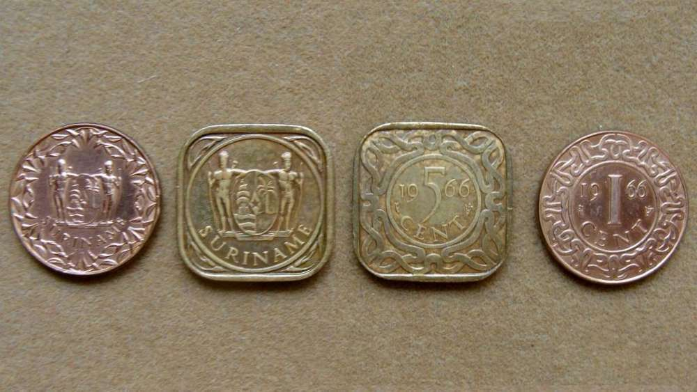 Monedas de 1 y 5 cents Surinam 1966