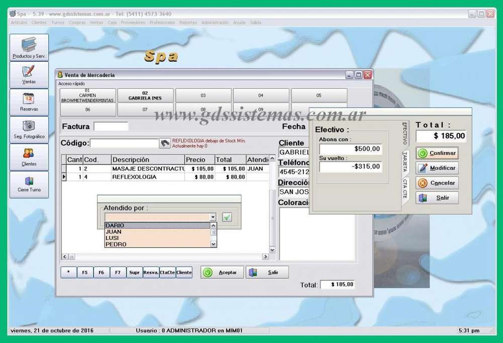 Spa - programa de gestión comercial para centro de estética, solárium... - software GDS Sistemas