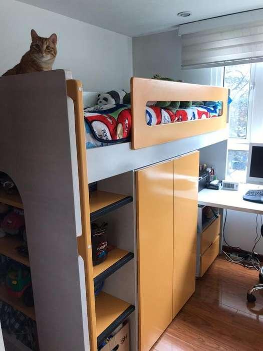 Cama Alta Infantil closet escritorio