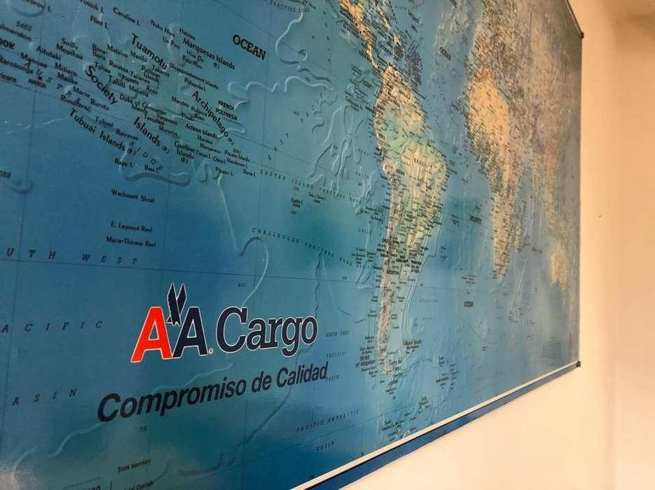 Cuadro Mapamundi Político Canvas American Airlines 150X91Cm