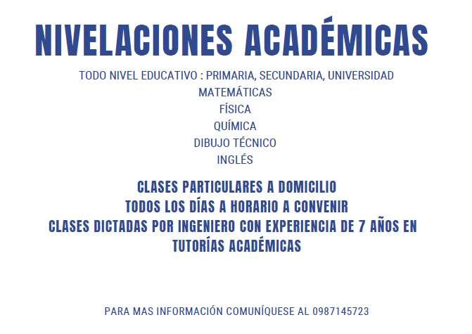 CLASES A DOMICILIO MATEMATICAS, FISICA, QUIMICA, INGLES, BIOLOGIA , DIBUJO TECNICO