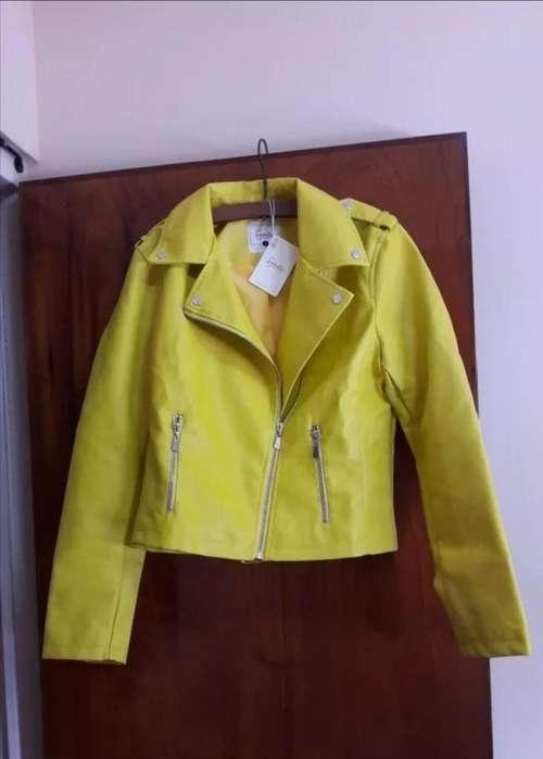 Campera Biker Amarilla Nueva Con Etiquetas