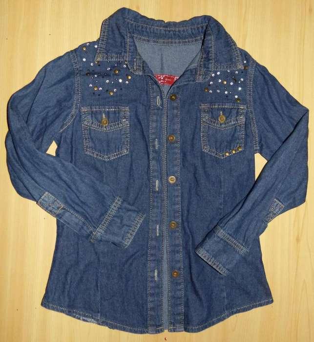 Camisa jeans tachas y brillitos talle 8 La Plata
