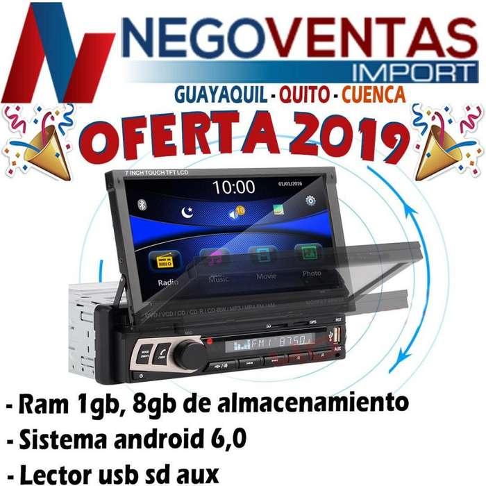 <strong>radio</strong> RETRÁCTIL ANDROID BT USB MICRO SD PANTALLA TÁCTIL SALIDA PARA CAMARA DE RETRO
