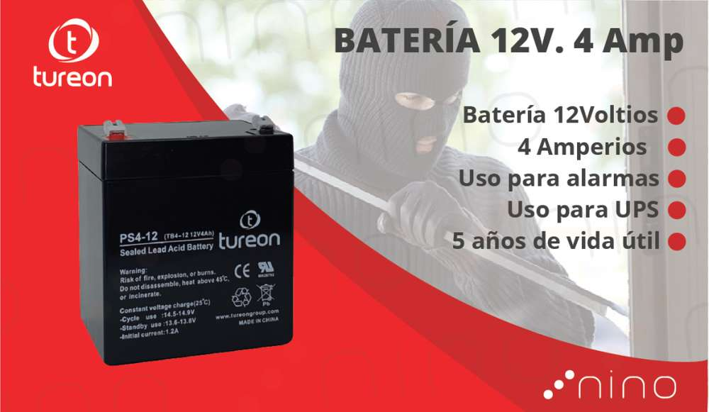 Bateria 12 voltios. 4 amperios