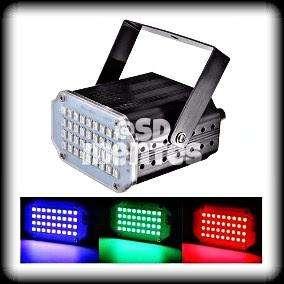 MINI FLASH MULTICOLOR RGB 24 LED REGULABLE. AUDIO RÍTMICO