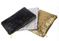 Cartera vanite glitter color negro