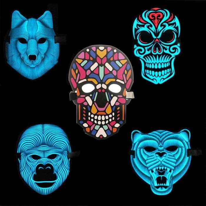 Mascaras reactivas para fiestas y halloween con iluminacion led varios estilos disponibles