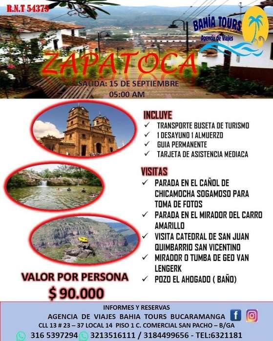 Tour Zapatoca Domingo 15 Septiembre