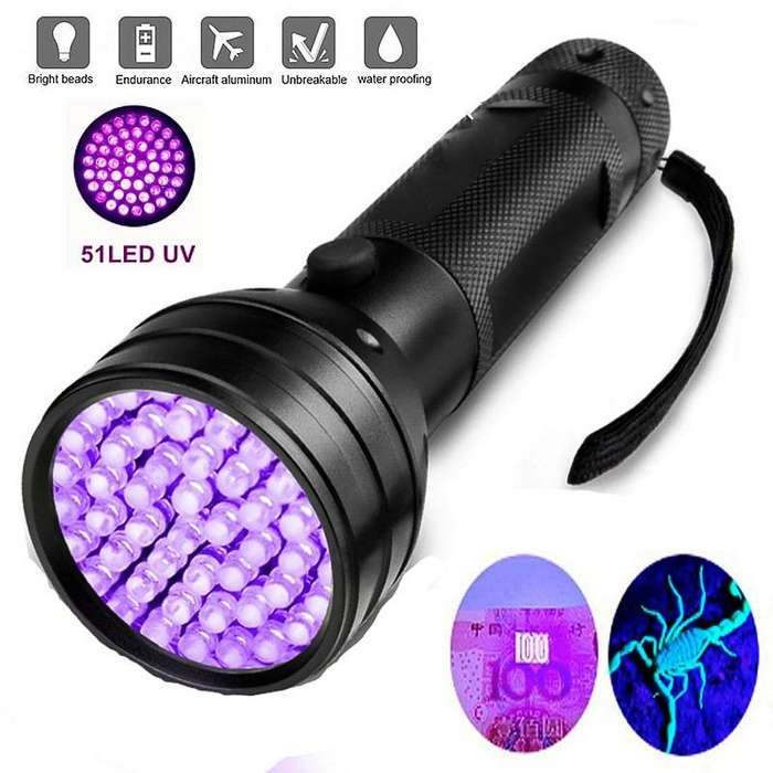 LINTERNA LED UV ULTRAVIOLETA 51 LED BILLETES CRIMINALISTICA