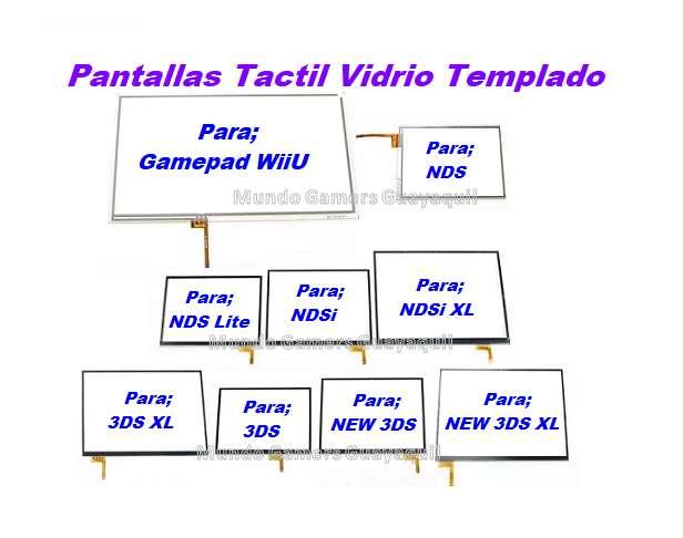 Pantallas Tactiles Vidrio Templado Nintendo Ds Dsi 3ds New 3ds WiiU