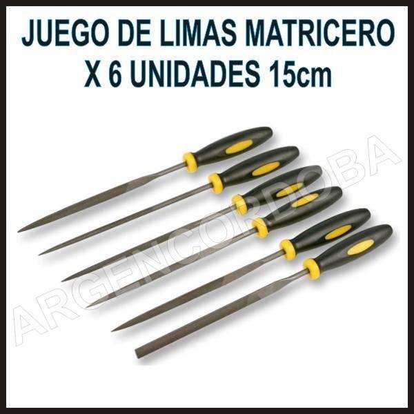 JUEGO DE LIMAS MATRICERO DE PRECISION X 6 UNIDADES 14CM