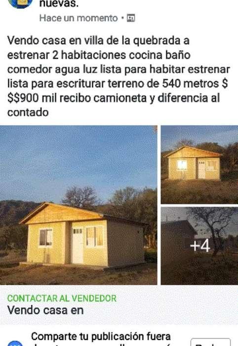 Vendo Casa en Villa de La Quebrada