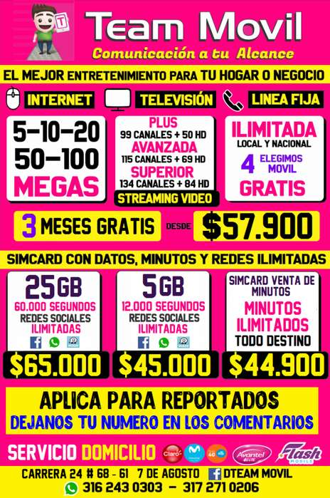 Simcard con datos, uso personal, venta de minutos, triple play Internet Claro, Movistar, TigoUne, ETB, aplica reportados