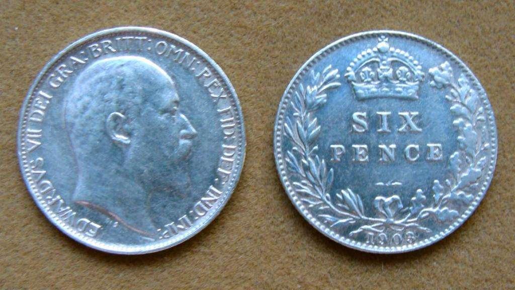 Moneda de 6 peniques de plata Gran Bretaña 1903