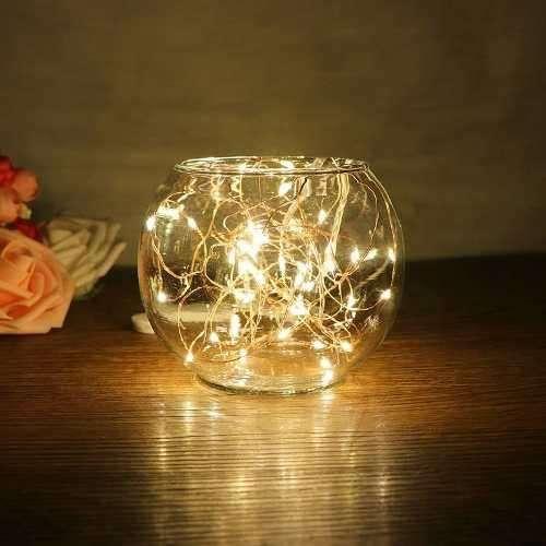 Guirnalda Alambre Luz Micro Led Calida 20 Luces Navidad Pila