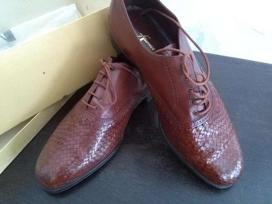 Zapatos De Vestir Nuevos Cuero Marrón Hombre Alonso Nro 41