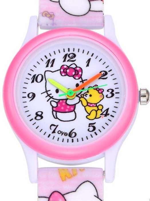 LINDOS Relojes Análogos Para Niñas y Niños Kitty Pink - superman