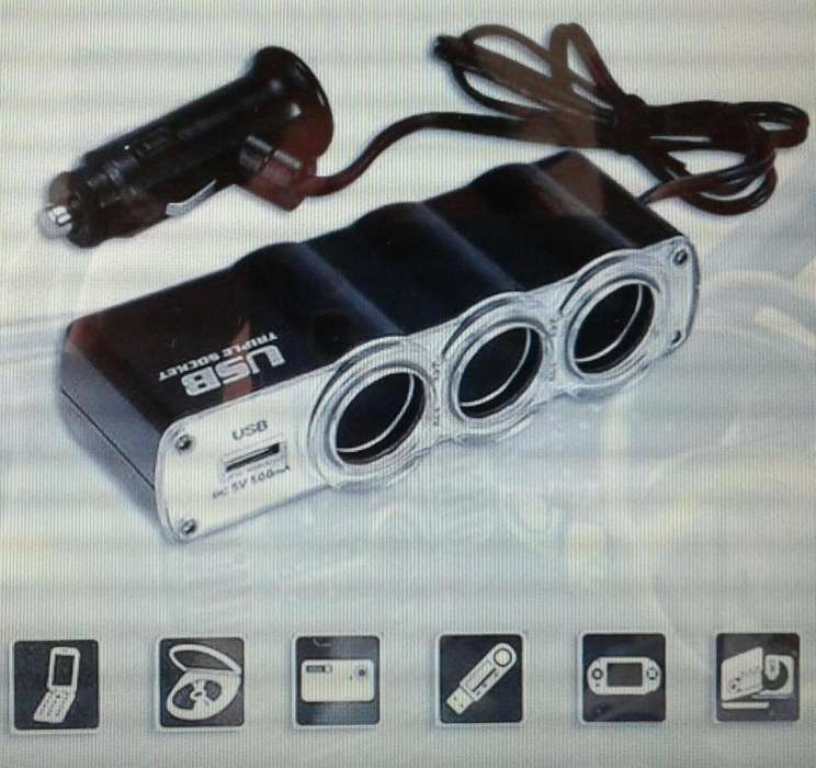 Triple socket 3 con cable cargador Usb 12v - 24v WF0120