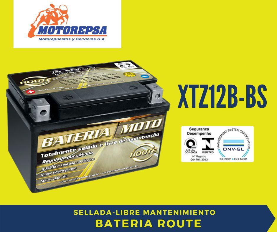 Bateria MOTO marca ROUTE XTZ12B BS / 12V10Ah