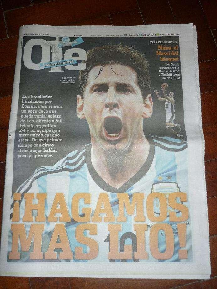 HISTORICO DIARIO OLE TAPA MESSI ARGENTINA 2 BOSNIA 1 MUNDIAL BRASIL 2014