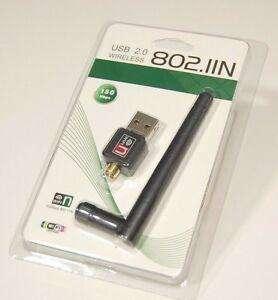 ANTENA WIFI ADAPTADOR USB 2.0 150 mbps PC, LAPTOP, COMPUTADORAS, COMPATIBLE PARA CUALQUIER WINDOWS Y MAC