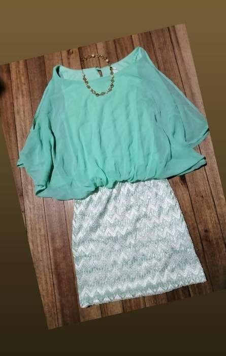 Hermoso Vestido Corto Olgado Color Menta