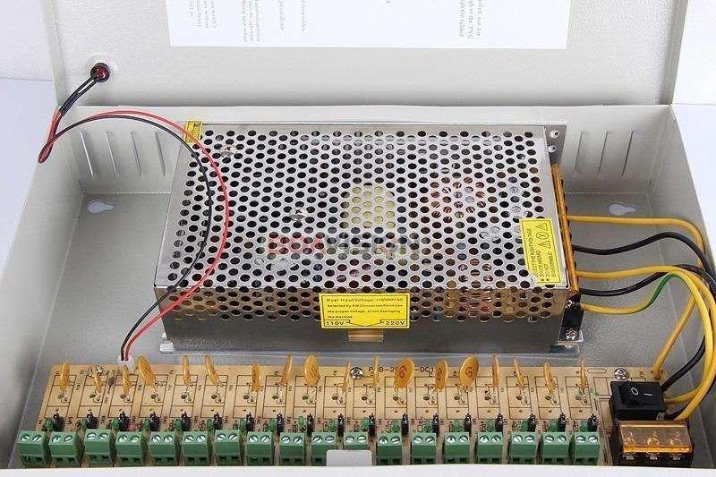 Caja Profesional 20a Fuente De 12v Cctv Sistema De18 Camaras
