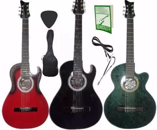 Guitarra Electroacustica aire artesanal Cable Forro Pua Metodo Bono Clases