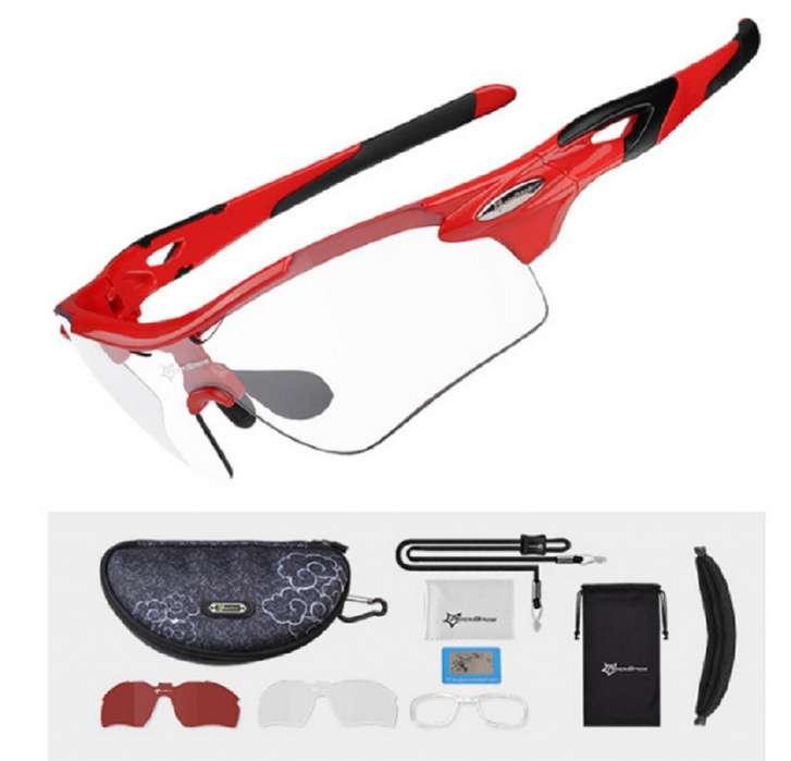 5743807715 Gafas deportivas lente fotocromatico, marco color rojo y polarizado Rockbros