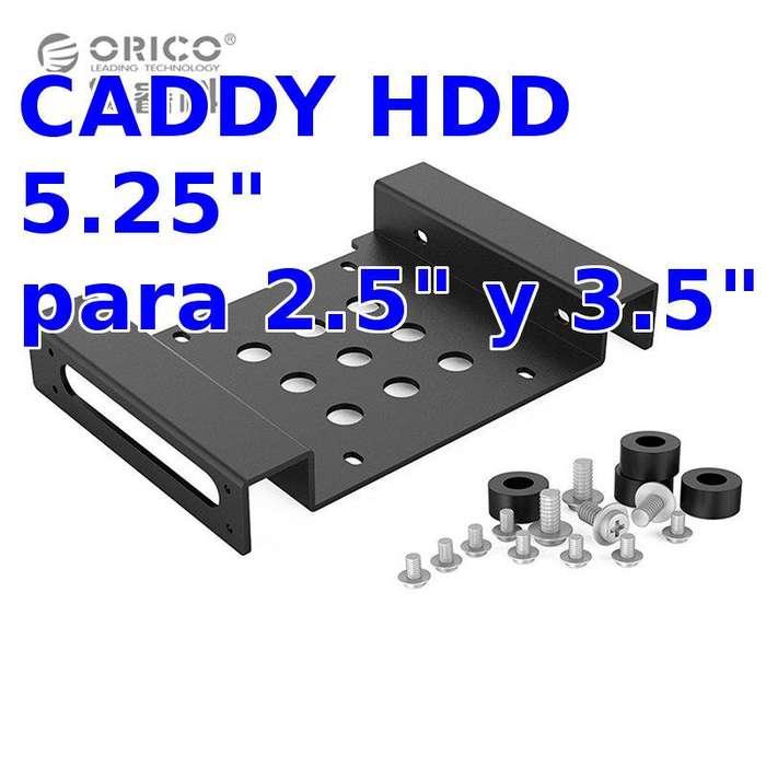 Caddy Adaptador a 5.25 Pulgadas, Para Discos Duros 2.5 y 3.5 pulgadas