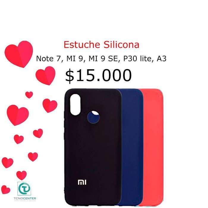 Estuche de Silicona con gamuza Xiaomi Note 7, Mi 9, Mi 9 Se, p30 lite, Silicon Case, TIENDA FISICA.