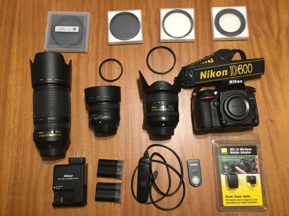 Nikon D600 3 lentes filtros accesorios