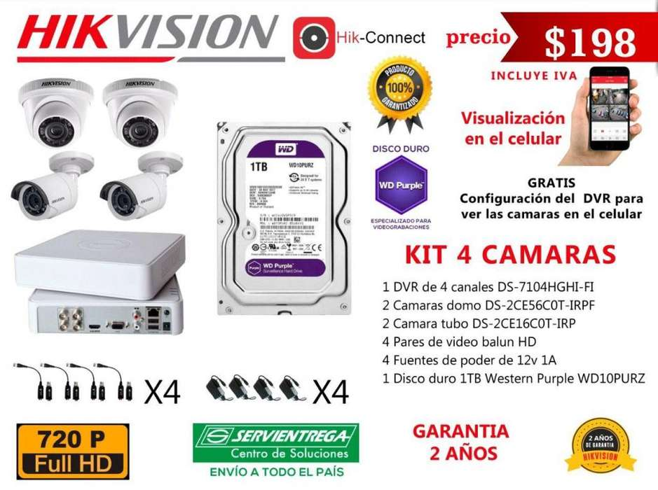 kit 4 6 8 camaras de seguridad hikvision cctv disco duro turbo hd vision nocturna dvr video