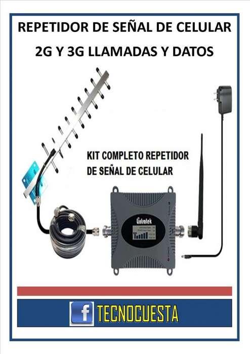 REPETIDOR DE SEÑAL DE CELULAR 2G Y 3G LLAMADAS Y DATOS MOVILES