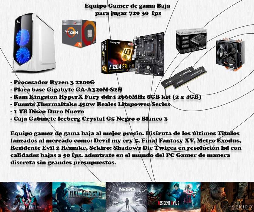 PC Gamer Gama Baja 720p 30 fps