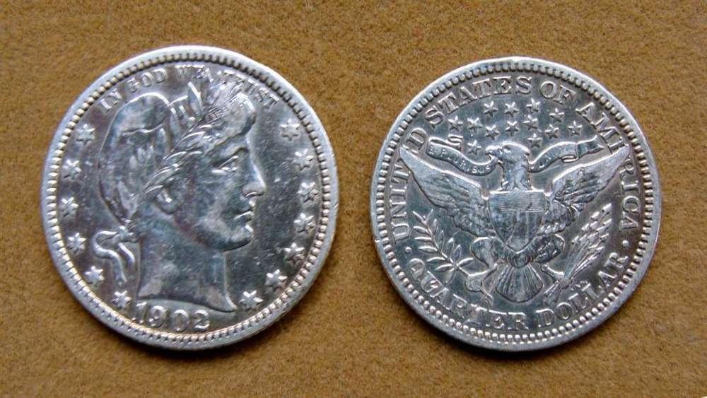 Moneda de ¼ de dólar de plata Estados Unidos 1902