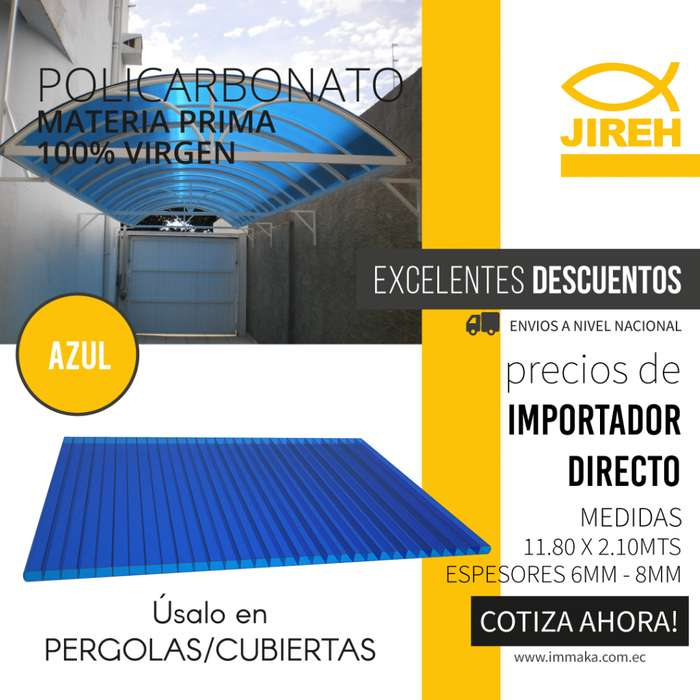 Policarbonato Jireh Azul 8mm en Guayaquil, Techos, Alucobond, Acrílico, Cielo raso PVC