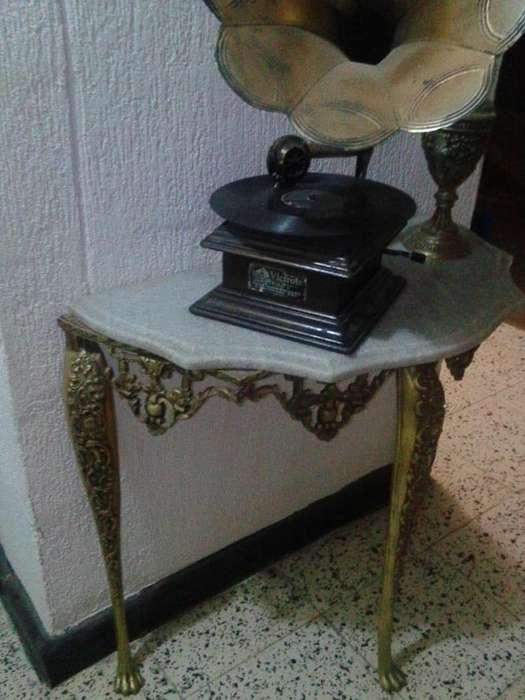 Hermosa Consola de Bronce Y Marmol