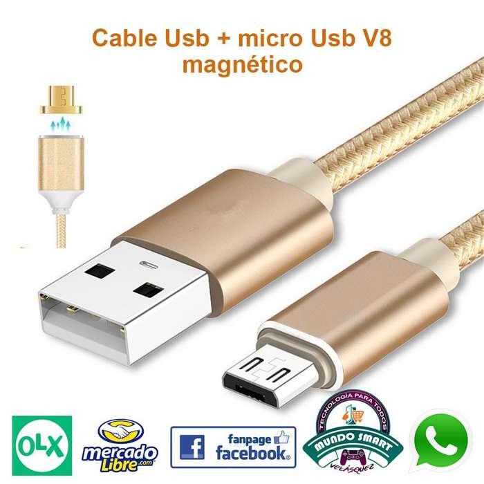 Cable De Datos y carga Magnético Usb Micro Usb V8