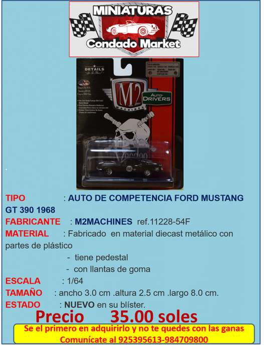 AUTO DE COMPETENCIA FORD MUSTANG GT 390 1968