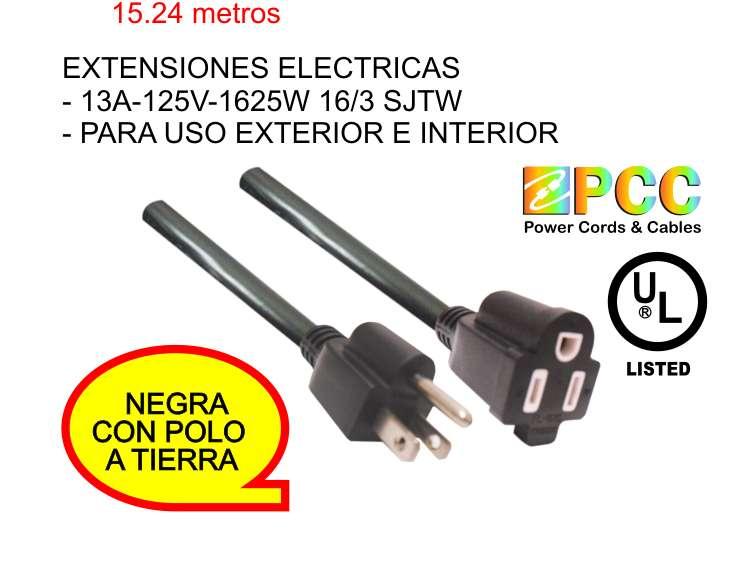 Extensión Eléctrica 15.24 Mts 13a 125v 1625w 16/3 Sjtw