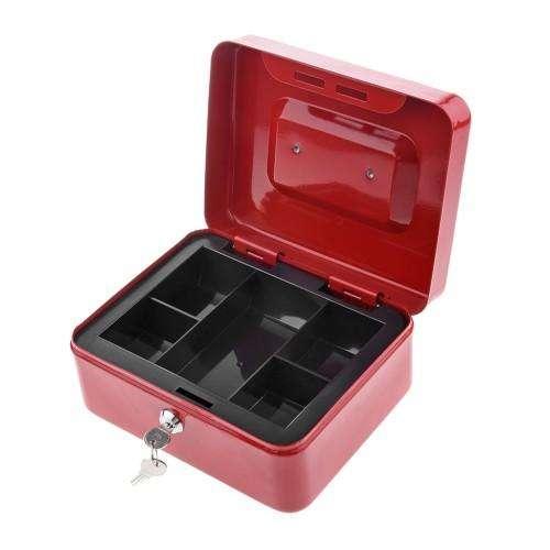 Caja de caudales metálica con candado y dos llaves cash box NUEVA