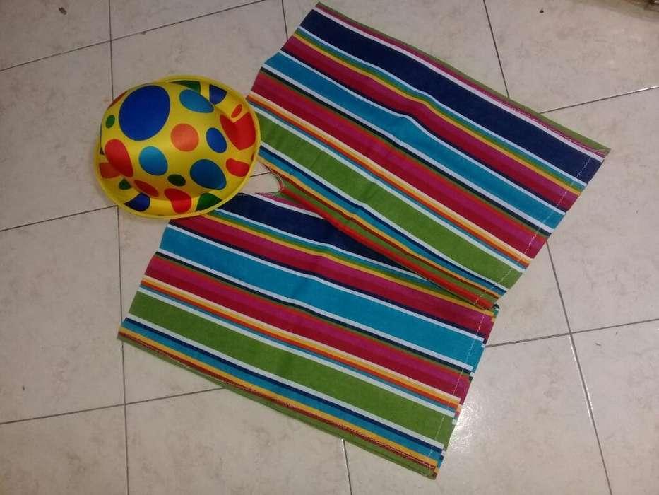 Poncho Rayado con Sombrero Color